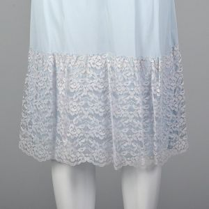 Small 1950s Half Slip Deadstock Pale Blue Nylon Lace Overlay Hem Pastel Lingerie Lounge - Fashionconstellate.com