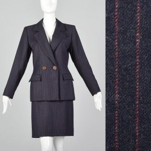 XS 1990s Striped Skirt Suit Yves Saint Laurent Rive Gauche YSL Double Breasted Blazer Jacket Navy