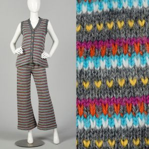 Small 1970s Colorful Knit Outfit Striped Sweater Vest Bell Bottoms Autumn Ensemble