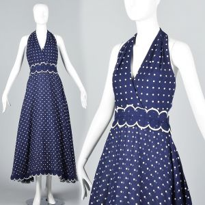 XS 1970s Navy Blue White Polka Dot Halter Maxi Dress