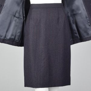 XS 1990s Striped Skirt Suit Yves Saint Laurent Rive Gauche YSL Double Breasted Blazer Jacket Navy - Fashionconstellate.com