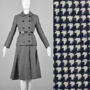 Medium 1970s Norman Norell Wool Skirt Suit Blue and White Houndstooth Tweed Double Breasted