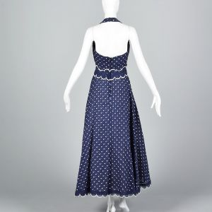 XS 1970s Navy Blue White Polka Dot Halter Maxi Dress  - Fashionconstellate.com