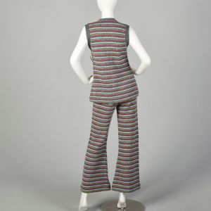 Small 1970s Colorful Knit Outfit Striped Sweater Vest Bell Bottoms Autumn Ensemble - Fashionconstellate.com