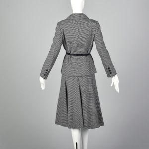 Medium 1970s Norman Norell Wool Skirt Suit Blue and White Houndstooth Tweed Double Breasted  - Fashionconstellate.com