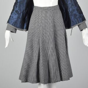 Medium Norman Norell 1970s Wool Skirt Suit Blue and White Houndstooth Tweed Double Breasted  - Fashionconstellate.com