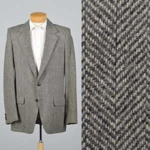 XL 43L 1990s Mens Herringbone Tweed Blazer Gray Wool Single Vent Two Button Jacket