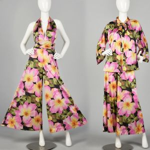 Large 1970s Vanity Fair Floral Palazzo Jumpsuit with Matching Jacket Silky Loungewear