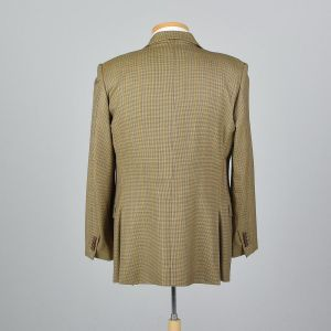 XL 43L 1990s Mens Plaid Italian Blazer Tan Double Vent Convertible Flap Pockets Sportcoat Jacket - Fashionconstellate.com