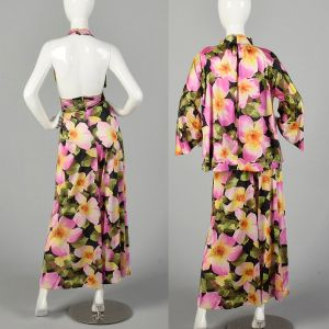 Large 1970s Vanity Fair Floral Palazzo Jumpsuit with Matching Jacket Silky Loungewear - Fashionconstellate.com