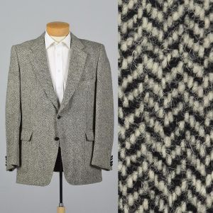 XL 44L 1970s Mens Blazer Harris Tweed Wool Jacket Gray Red Lined Single Vent Wide Lapels
