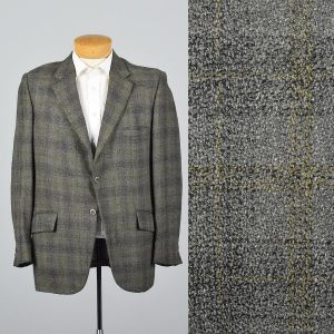 XL 43L 1960s Mens Blazer Gray Plaid Jacket Yellow Stripe Double Vent Convertible Pocket