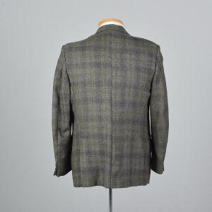 XL 43L 1960s Mens Blazer Gray Plaid Jacket Yellow Stripe Double Vent Convertible Pocket - Fashionconstellate.com