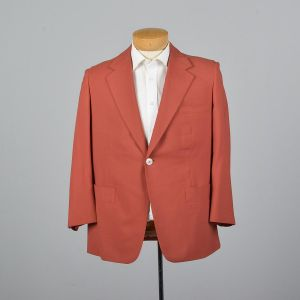 Large 42S 1970s Mens Blazer Orange Jacket Psychedelic Lining Double Vent Wide Lapel Sportcoat