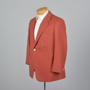 Large 42S 1970s Mens Blazer Orange Jacket Psychedelic Lining Double Vent Wide Lapel Sportcoat - Fashionconstellate.com
