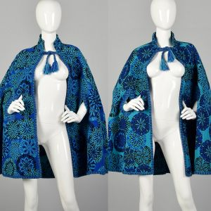 1970s Reversible Tapestry Cape Blue Bohemian Outerwear