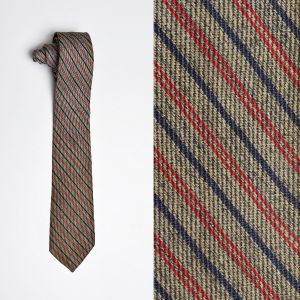 1960s Gray Ivy League Diagonal Striped Necktie Red Narrow Blue Neck Tie