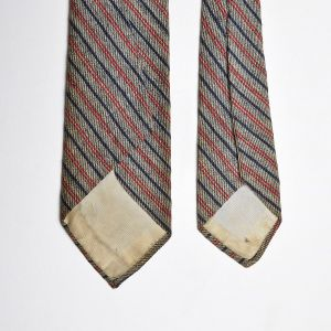 1960s Gray Ivy League Diagonal Striped Necktie Red Narrow Blue Neck Tie - Fashionconstellate.com