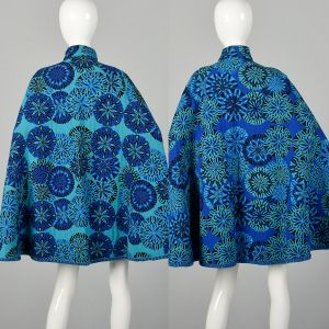 1970s Reversible Tapestry Cape Blue Bohemian Outerwear - Fashionconstellate.com