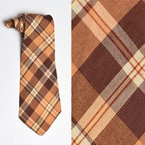 1930s Orange Plaid Necktie Wide Brown Neck Tie Autumn Cravat