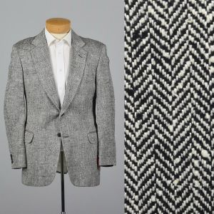 Large 40S 1990s Mens Blazer Black and White Herringbone Sportcoat Single Vent Jacket