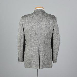 Large 40S 1990s Mens Blazer Black and White Herringbone Sportcoat Single Vent Jacket  - Fashionconstellate.com