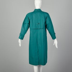 Medium 1980s Teal Coat Green Trench Coat with Quilted Thinsulate Lining  - Fashionconstellate.com
