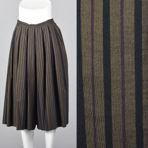 XS 1990s  Perry Ellis Gray Wide Leg Pants Black Striped Pleated Gauchos
