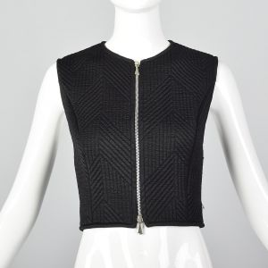 Small 1980s Claude Montana Black Quilted Vest Zip Front Sleeveless Tank Top