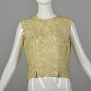 Large 1960s Gold Top Metallic Mesh Overlay Sleeveless Ivory Formal Evening Blouse
