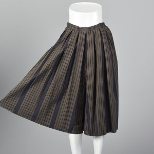 XS 1990s  Perry Ellis Gray Wide Leg Pants Black Striped Pleated Gauchos - Fashionconstellate.com