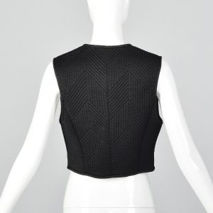 Small 1980s Claude Montana Black Quilted Vest Zip Front Sleeveless Tank Top - Fashionconstellate.com