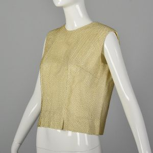 Large 1960s Gold Top Metallic Gold Mesh Overlay Sleeveless Ivory Formal Evening Blouse - Fashionconstellate.com