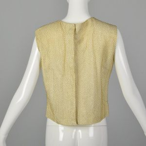 Large 1960s Gold Top Metallic Mesh Overlay Sleeveless Ivory Formal Evening Blouse - Fashionconstellate.com