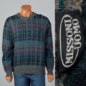 XL 1980s Mens Sweater Missoni Uomo Plaid Long Sleeve Pull Over