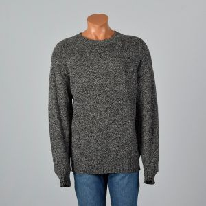 2XL-3XL Mens 1980s Gray Sweater Wool Crew Neck Long Sleeve Pullover