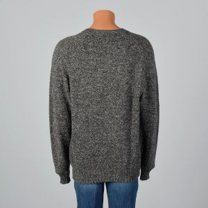 2XL-3XL Mens 1980s Gray Sweater Wool Crew Neck Long Sleeve Pullover  - Fashionconstellate.com