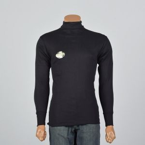 Medium 1960s Mens Tight Black Turtleneck Loopwheel Knit Long Sleeve Layering Shirt