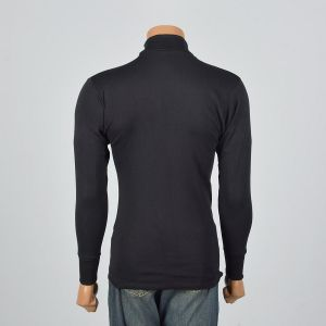 Medium 1960s Mens Tight Black Turtleneck Loopwheel Knit Long Sleeve Layering Shirt - Fashionconstellate.com