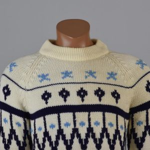 Medium Mens 1960s Sweater Cream Blue Scandinavian Fair Isle Print Ribbed Knit Pullover Long Sleeve - Fashionconstellate.com