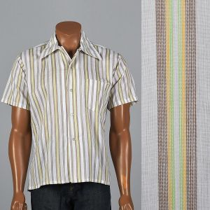 XL 1970s Mens Striped Short Sleeve Shirt Pocket Square Cut White Green Rockabilly Button Down