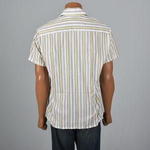 XL 1970s Mens Striped Short Sleeve Shirt Pocket Square Cut White Green Rockabilly Button Down - Fashionconstellate.com