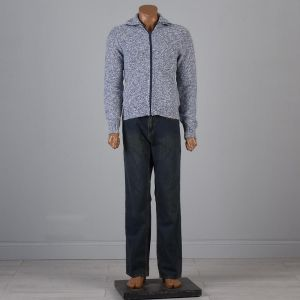 Medium 1960s Mens Sweater Blue Marled Zip Front Cardigan Elbow Patch Long Sleeves - Fashionconstellate.com