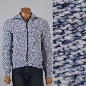 Medium 1960s Mens Sweater Blue Marled Zip Front Cardigan Elbow Patch Long Sleeves