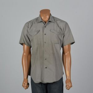 XL 1960s Mens Distressed Work Shirt Short Sleeve Patch Pockets Sanforized Gray Button Down