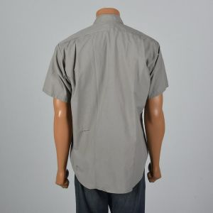 XL 1960s Mens Distressed Work Shirt Short Sleeve Patch Pockets Sanforized Gray Button Down - Fashionconstellate.com