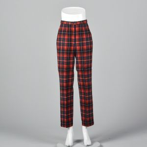 XS 1970s Pendleton Red Plaid Wool Pants Green Woven Tartan Flat Front Tapered Leg