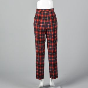 XS 1970s Pendleton Red Plaid Wool Pants Green Woven Tartan Flat Front Tapered Leg - Fashionconstellate.com