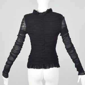 Small Casadei Black Ruched Sheer Top Long Sleeve Shirt Ruffle Collar Blouse  - Fashionconstellate.com