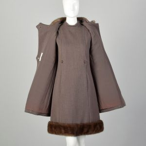 Small 1960s Mod Dress and Winter Coat Set Double Breasted Outfit with Taupe Mink Fur Trim  - Fashionconstellate.com